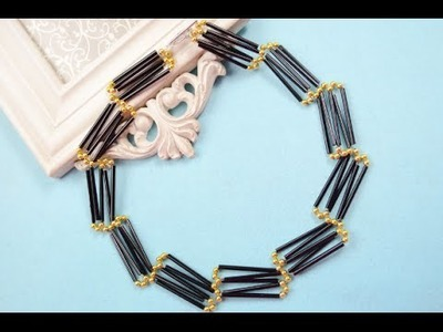 How to Make Ladder Shaped Black Glass Bead Necklace Patterns with Round Gold Beads