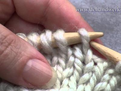 Breien algemeen: Stekenpositie op de naald (recht) . Position of stitches on the needle (knit)