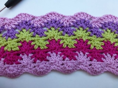 "Crochet with eliZZZa * ""Stars & Waves"" Crochet stitch with two rows"