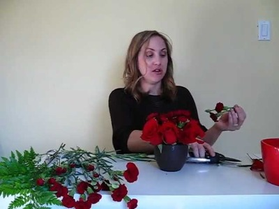 DIY Wedding Centerpiece - Red Roses & Carnations