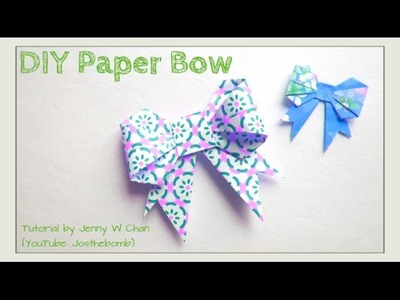 Easter Crafts - Paper Bow. Origami Bow - How to Make a Ribbon Bow for Cards. Wrap Presents