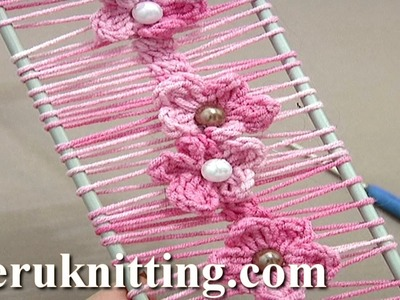 Floral Crochet Hairpin Lace Strip Tutorial 19 Crochet Flowers on Hairpin Loom