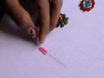 HAND EMBROIDERY- How to sew a sequins (outline stitch) method-1