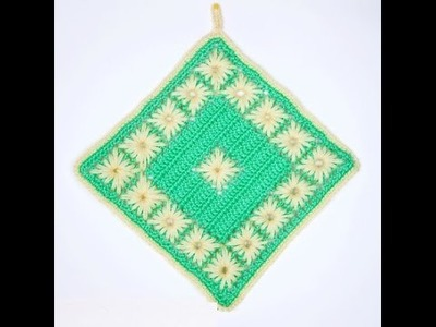 How to crochet hot pad free pattern tutorial for beginners