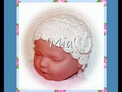 Mia Multisize Lace Baby or Reborn Doll Hat Double Knitting Aran Yarn Knitting Pattern