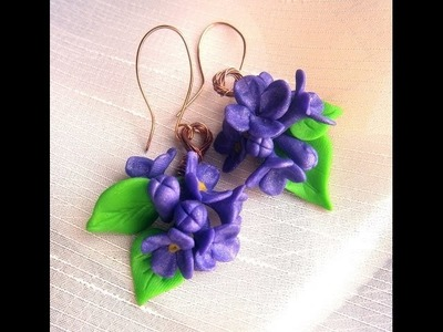 "Polymer clay tutorial.Walkthrough - ""Lilac Flowers""- Earrings"