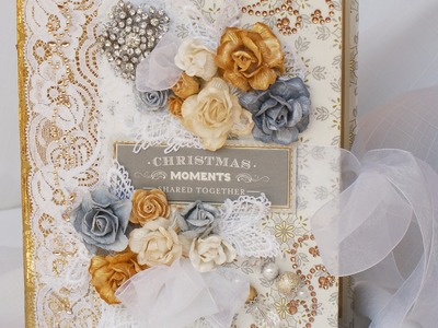 Silver and Gold Christmas Scrapbook Mini Photo Album by Terry