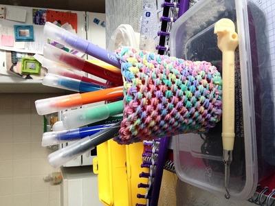 Cache Pot en Rainbow Loom au crochet