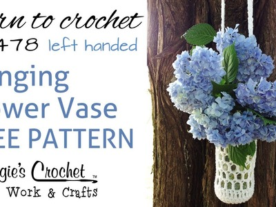 Crochet Free Pattern Beginner Flower Vase How To - Left
