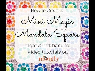 How to Crochet: Mini Magic Mandala Square (Left Handed)