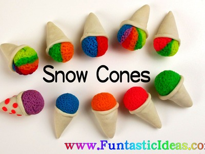 Play Doh Snow Cones.Rainbow Snow Cone.Two Colors Snow Cones.Ice Cream Mini - How to by Funstic Ideas