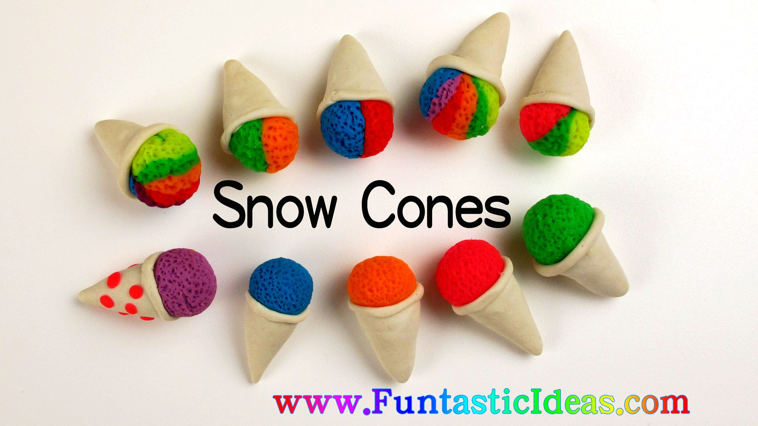 Play Doh Snow Cones.Rainbow Snow Cone.Two Colors Snow Cones.Ice Cream Mini - How to by Funstic Ideas