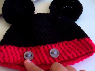 Crochet Baby Mickey Mouse Beanie. (F.O.T.H.)