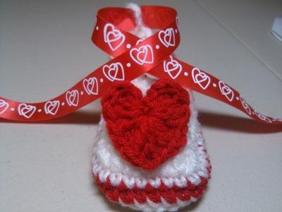 Crochet Valentine Baby Shoe - Part One