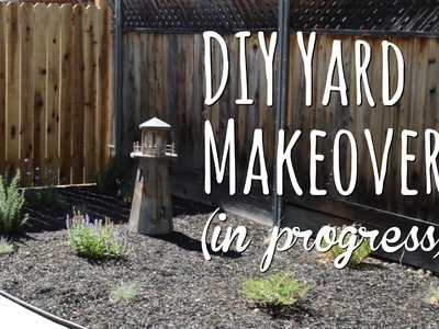DIY yard makeover - front yard before and after with drought tolerant plants