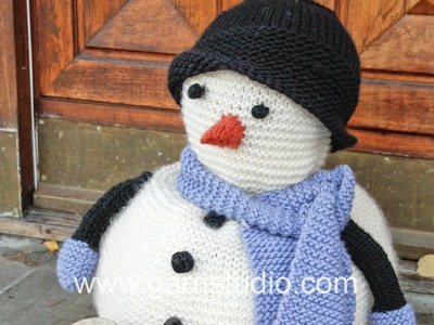DROPS Knitting Tutorial: How to work an eye, button, nose and arm to the snowman in DROPS 0-1056