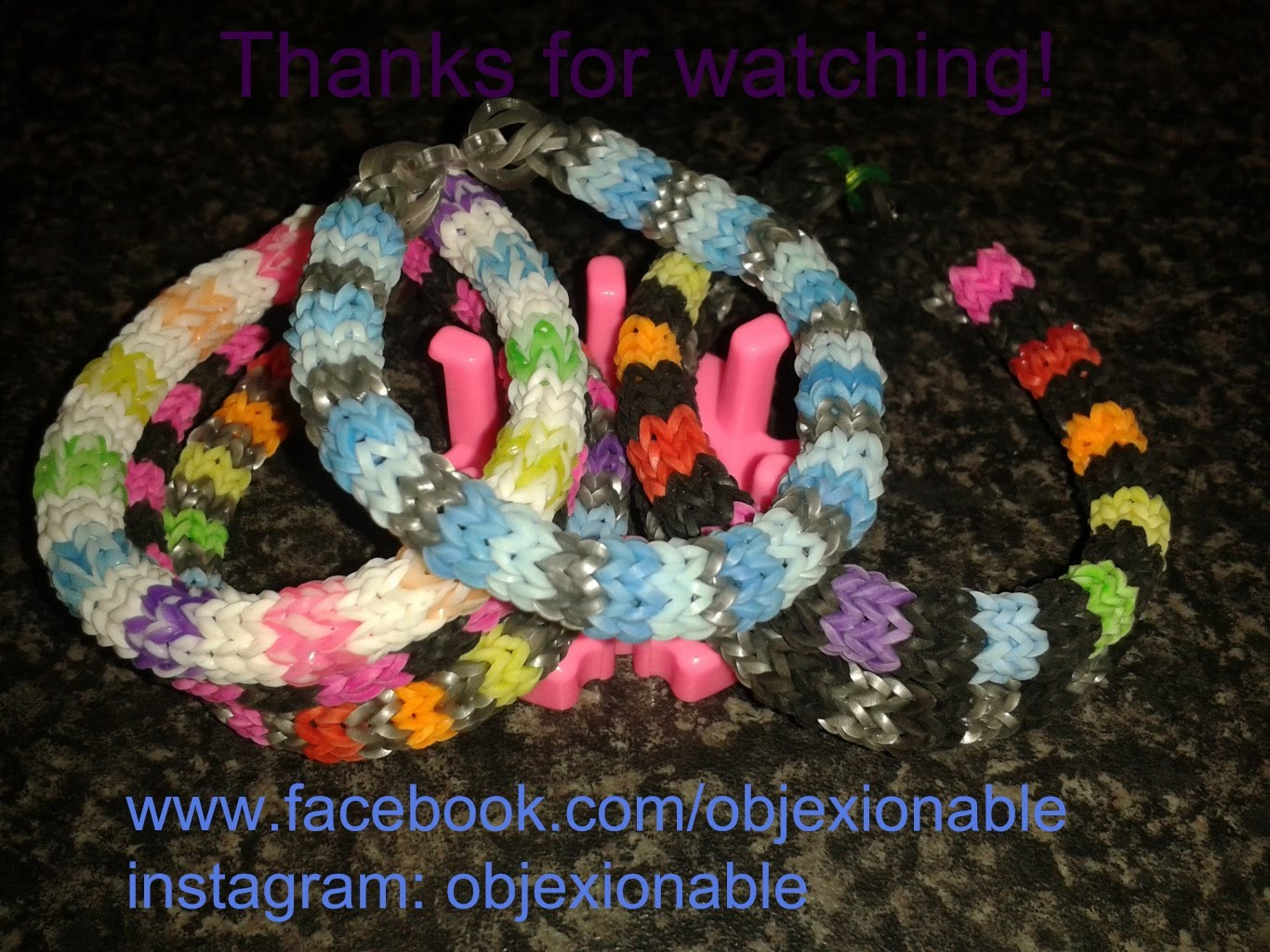 Hexafish loom band bracelet on mini knitting loom
