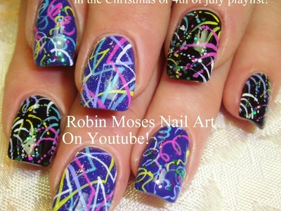 Nail Art Tutorial | DIY Easy NYE Party Nail Art | Fireworks and stripes!
