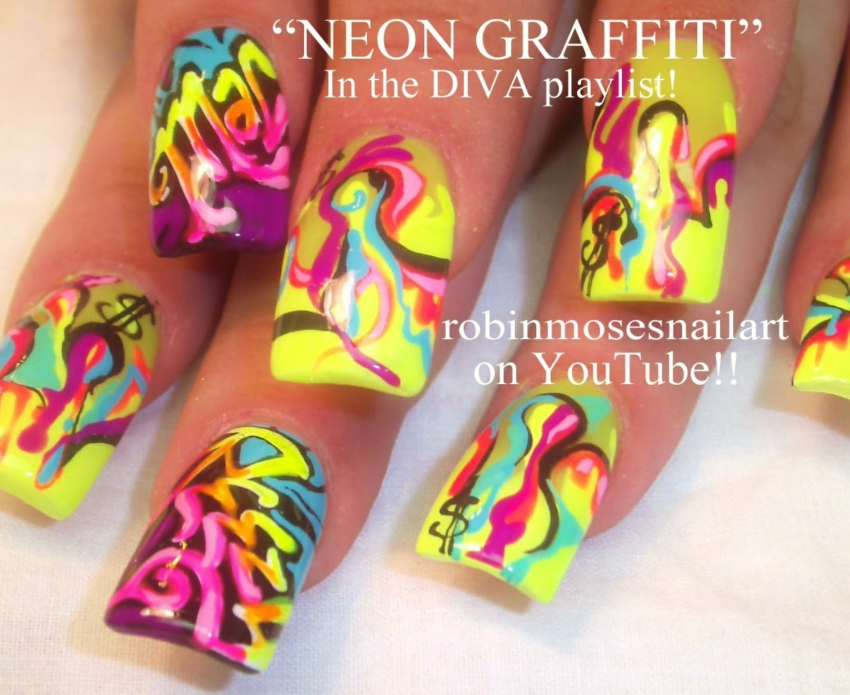Neon Graffiti Nail Art Design Tutorial