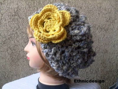 New Crochet Pattern Beret Slouchy Hat and Flower Brooch  number 37