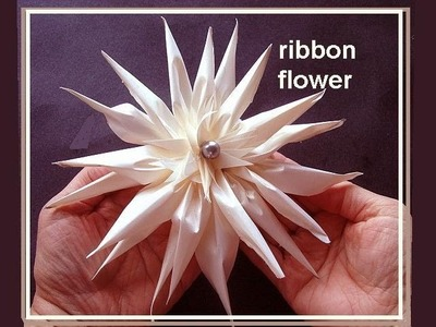 SPIKEY RIBBON FLOWER, Bridal Flower, Fashion Design, Haute Couture, How to diy, fabric flower