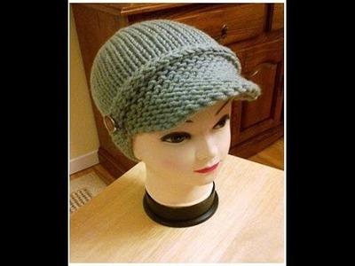 #5 Addi Newsboy Hat.Loom Knitted Visor Part 2