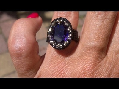 Beading4perfectionists : A bezel for an Oval 18x13mm Swarovski. Ring beading tutorial