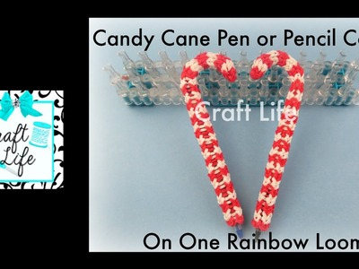 Craft Life Candy Cane Pen or Pencil Cover Grip Topper Tutorial for Christmas on a Rainbow Loom