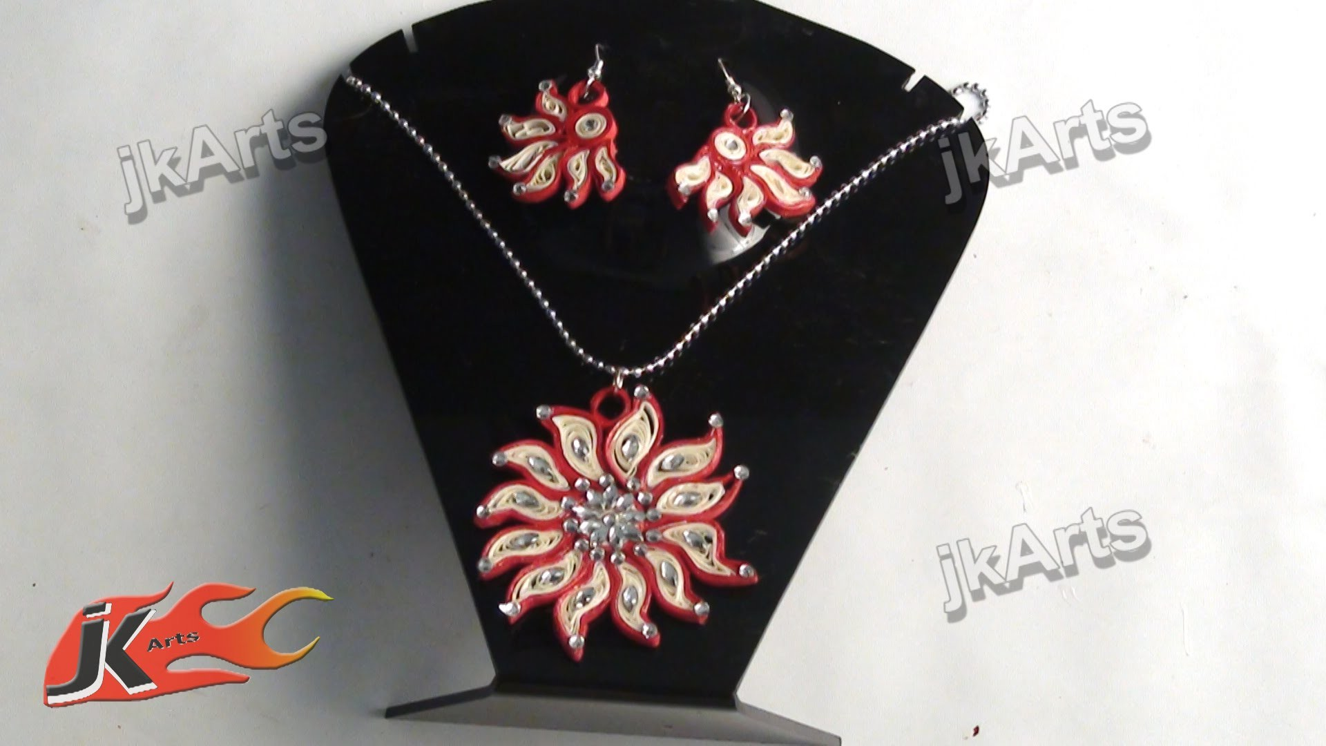 DIY How to make Paper Quilling Jewelry Set - JK Arts 374