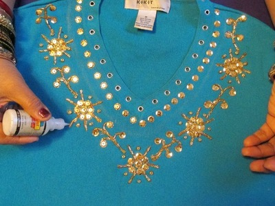 GORGEOUS SHIRT DECORATION WITH SEQUINS, BEADS AND GLITTER PAINT.