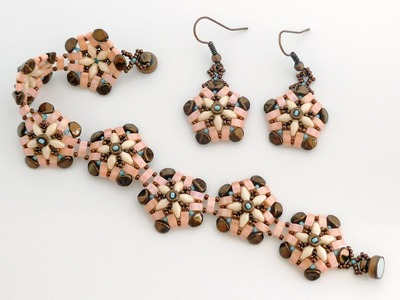 TheHeartBeading: Beaded bracelet and earrings with half tilas, superduos and pinch beads