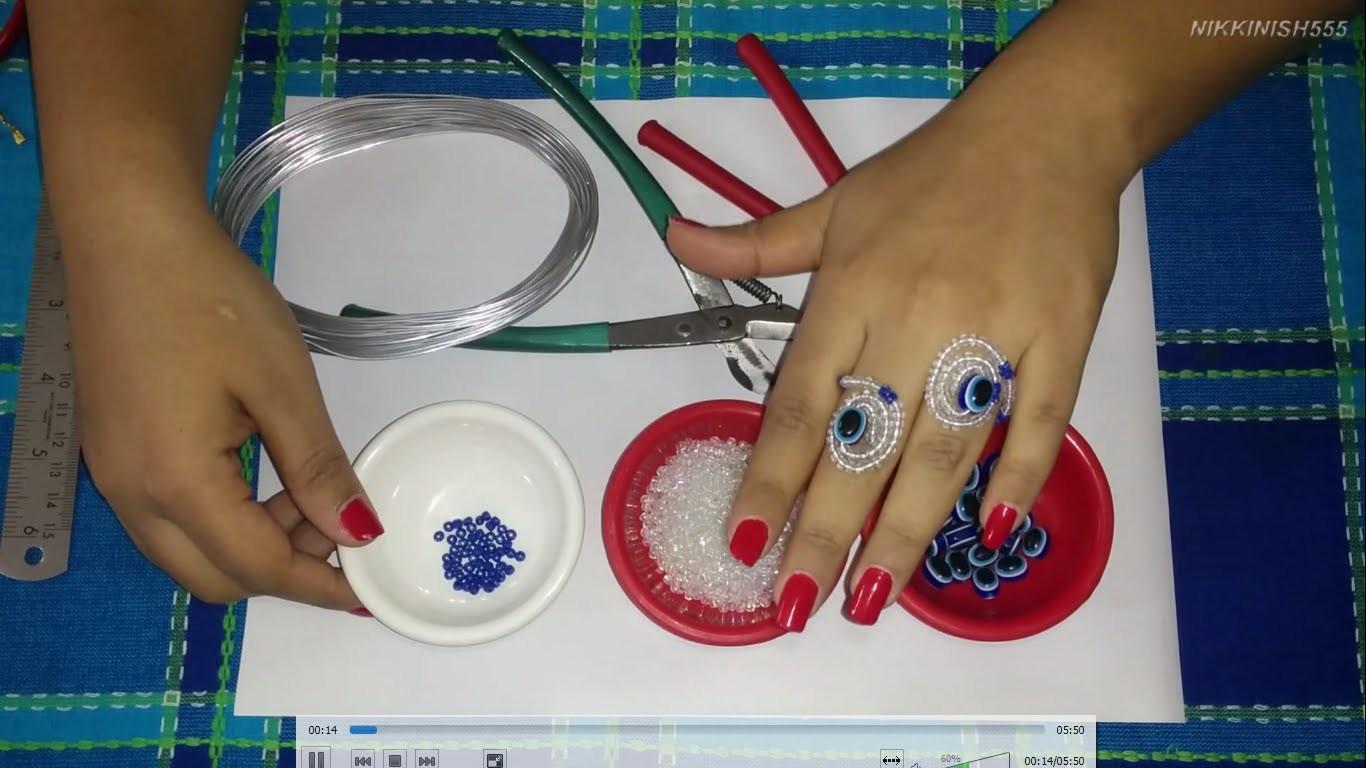 1. Beading Jewellery - How to make Beaded Flexible Ring. Bracelet