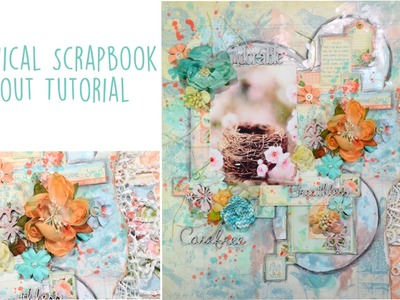 ♬ Botanical Mixed Media Scrapbook Layout Tutorial For ScrapFX