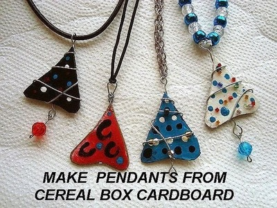 CHRISTMAS TREE PENDANTS FROM CEREAL BOXES. recycled jewelry, diy, make it, how to