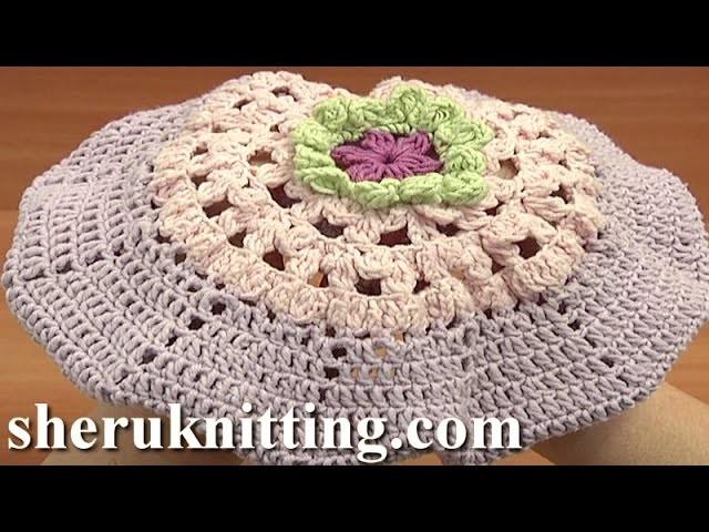 Crochet Easy Beret Hat For Girls Tutorial 7 Part 1 of 2 Free Crochet Beret Pattern