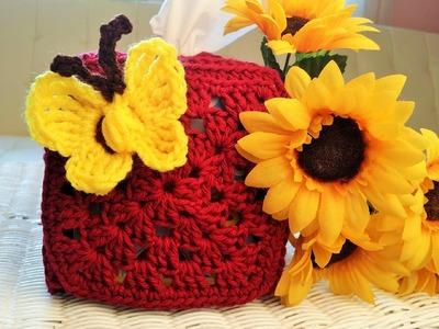 Crochet Glama's Granny Square Tissue Box Holder