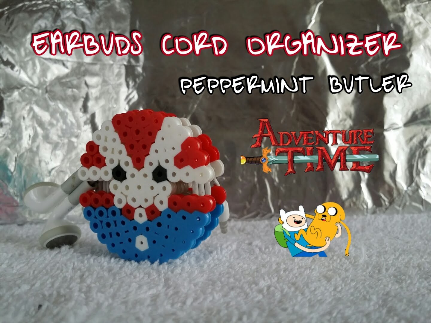 DIY Earbud cord organizer perler beads~Adventure Time~ Holiday gift ideas