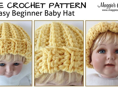 Easy Beginner Baby Hat Free Crochet Pattern - Right Handed