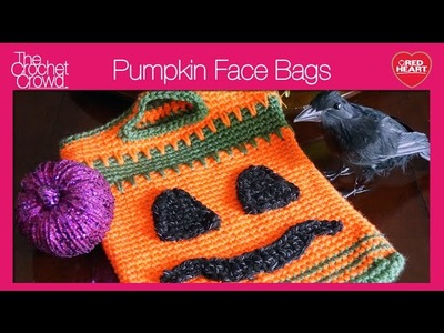 How to Crochet Pumpkin Face Trick or Treat Bags