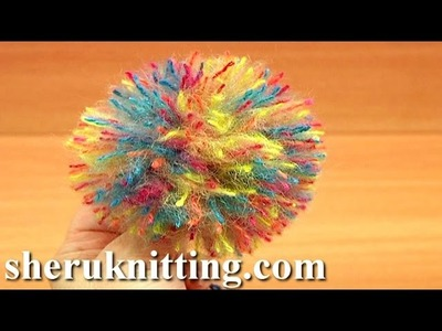 Making Pom Pom by Hand Crochet Tutorial 12 Method 3 of 8 Cardboard Technique