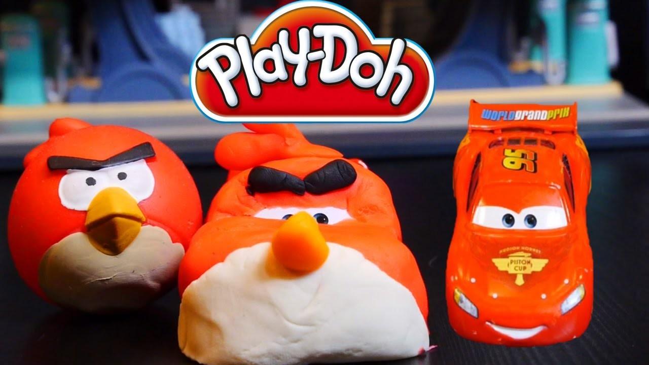 Play Doh Cars Angry Bird Creation - Disney Cars Toys Lightning Mcqueen Play Dough DIY Tutorial!