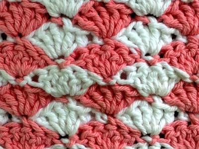 Shell LEFT Crochet Stitch Change Color Every Row Pattern by Maggie Weldon