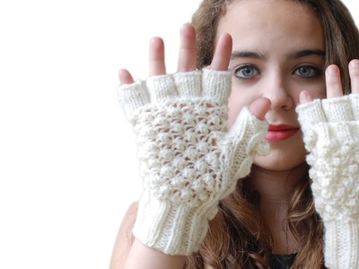 TRINITY STITCH FINGERLESS GLOVES WITH CABLED THUMB