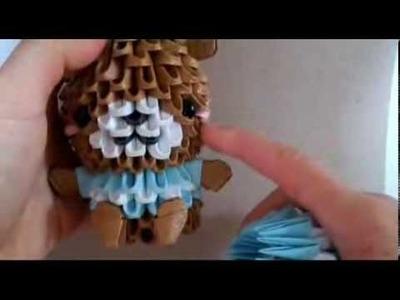 3Dorigami bear in striped shirt part 1