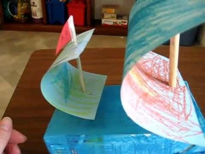 Arts & Crafts activity: sailboat from milk carton, paint or crayons, paper and sticks.