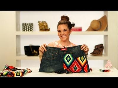 Aztec Print Denim Shorts, DIY Fashion, Fab Flash