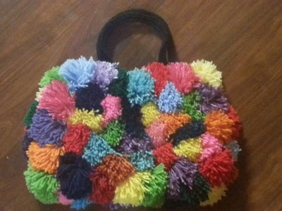 CROCHET BAG -TUTORIAL POOFY POM POM COLORSPLASH crochet purse CROCHET BAG