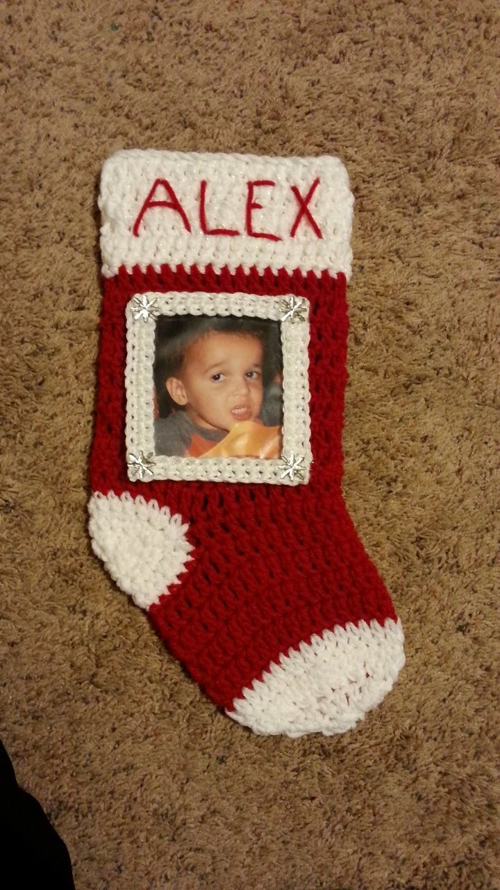 Crochet Christmas Stocking With Picture Frame Tutorial Holiday Crochet