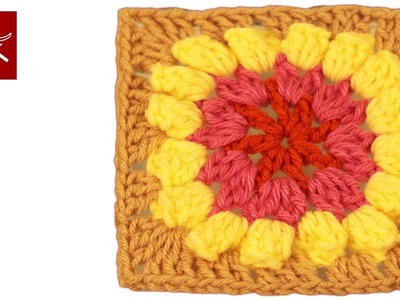 Crochet Granny Square Popcorn Flower Crochet Geek