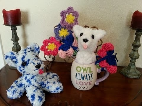 Crochet quick and easy flower, butterfly, and pipsqueak puppy DIY tutorial